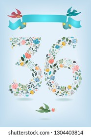 Floral Number Thirty Sixwith blue ribbon and colorful birds. Watercolor graceful flowers, plants and blurs. Ribbon has golden back and place for custom text. Vector Illustration