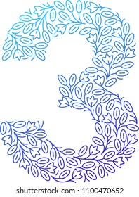 Floral number. Three. Line clear modern illustration. Vector isolated illustration on white background. Illustration for t-shirts, posters, card and other uses.
