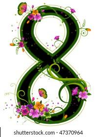 Floral Number - Vector