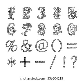 Floral numbers Hand drawn sketched vector illustration. Doodle graphic with ornate pattern. Design Isolated on white.