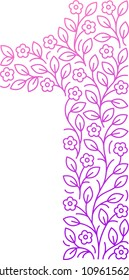 Floral numbers. Line clear modern illustration. Vector isolated illustration on white background. Illustration for t-shirts, posters, card and other uses.