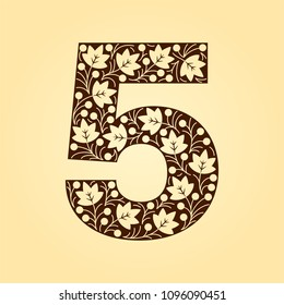 Floral numbers. Retro, vintage, gothic style. Vector isolated illustration on light background. Illustration for t-shirts, posters, card and other uses.