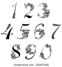 Floral numbers set  isolated on White background. Vector illustration