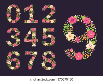 Floral numbers.  Vector isolated illustration on dark background