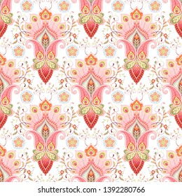 Floral oriental damask pattern with paisley and peacock feathers