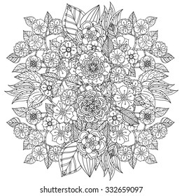 Floral ornament. Art mandala style.  Black and white background. Could be use  for coloring book  in zentangle style.