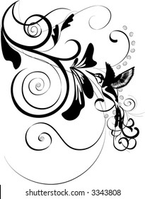 floral ornament with bird - vector