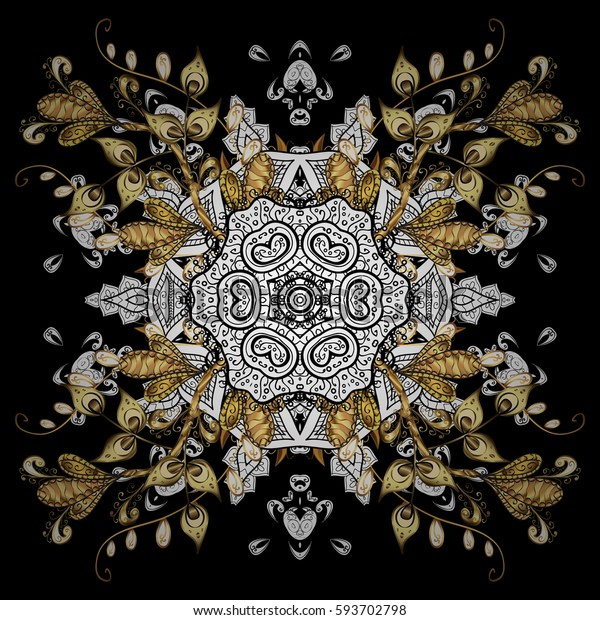 Floral ornament brocade textile pattern, glass, metal with floral pattern on black background with golden elements. Classic vector golden pattern.