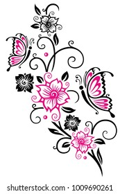 Floral ornament with cherry blossoms and butterflies. Pink.