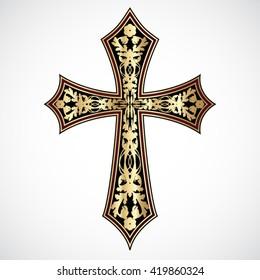 floral ornament golden cross / vector illustration