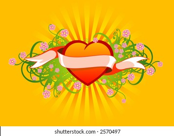 Floral ornament with the heart, flowers and ribbon