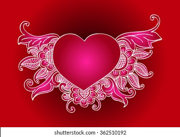 Floral ornament heart shape for your design. Hand drawing illustration.