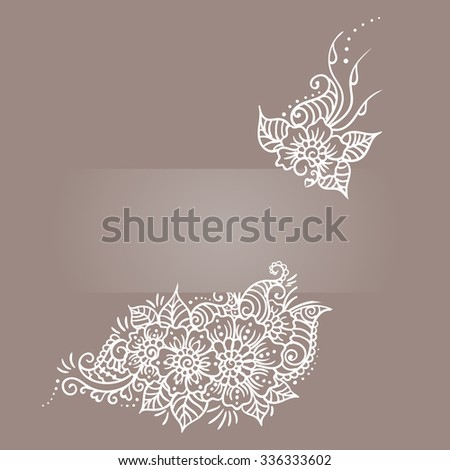 Floral Ornament Mehndi Henna Tattoo White Stock Vector Royalty Free