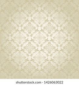 Floral ornament on background. Cute seamless floral pattern. Background design. Vintage vector wallpaper