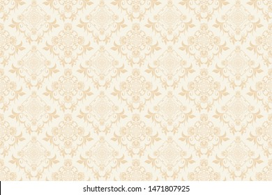 Floral ornament on background. Trendy wallpaper, great design for any purposes. Seamless wallpaper pattern. Cute vector illustration