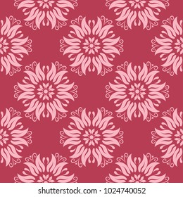 Floral ornament on red background. Seamless pattern for textile and wallpapers