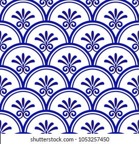 Floral ornament on watercolor backdrop damask style, blue and white ceramic tile pattern seamless vector illustration, cute porcelain background design