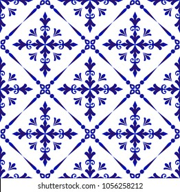 Floral ornament on watercolor backdrop damask style,seamless blue and white pattern for design, porcelain, chinaware, ceramic, tile, ceiling, texture, wallpaper, floor and wall, vector illustration