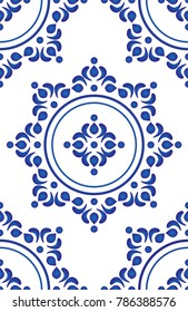 Floral ornament on watercolor backdrop, blue and white ceramic tile pattern seamless vector illustration, cute porcelain background design damask style