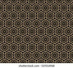 floral ornament. seamless vector pattern. gold on black. interior decoration, wallpaper, presentation, fashion design.