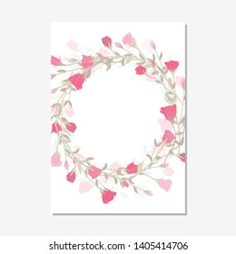 Floral ornament, set cardmodern card in rose eustoma, leaves. Floral frame template, poster, invite. Decorative greeting card or invitation. Vector illustration with place for your