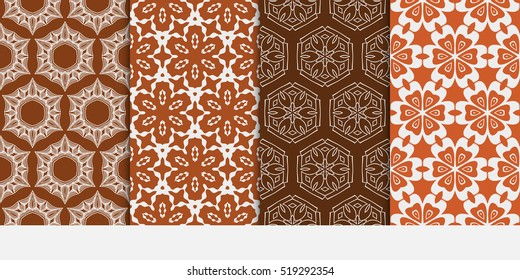 Floral ornament. Set of seamless pattern. Vector illustration. For fashion design, wallpaper, invitation. Chocolate Color