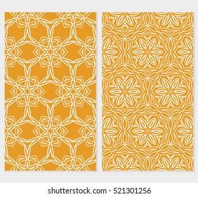 Floral ornament. Set of seamless pattern. Vector illustration. For fashion design, wallpaper, invitation. orange, green Color