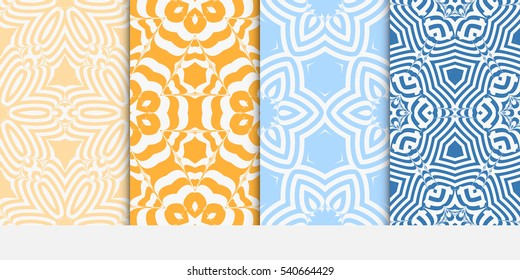 Floral ornament. Set of seamless pattern. Vector illustration. For fashion design, wallpaper, invitation.