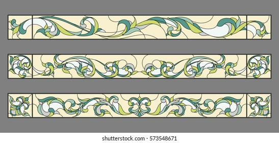 Floral ornament - stained glass. Vector.