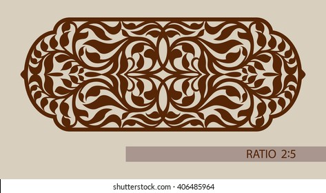 Floral ornament. Template pattern for decorative panel. A picture suitable for printing, engraving, laser cutting or plotter cutting paper, wood, metal, stencil manufacturing. Vector. Easy to edit
