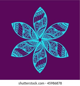 Floral ornament. Vector ornate flower.