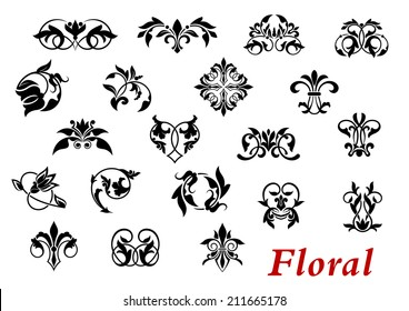 Floral ornamental elements and vignettes in damask style isolated on white for design and ornate