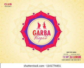 Floral ornamental poster or flyer design with floral frame, date, time and venue details for Garba Night event concept.