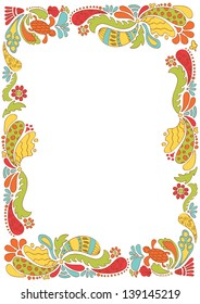 Floral and ornamental shapes frame. Vector illustration. Abstract.