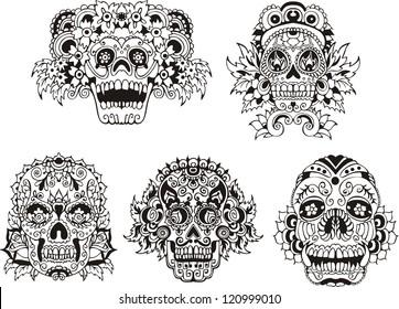 Floral ornamental skulls. Set of black and white vector illustrations.