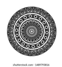 floral ornate circle round, vector