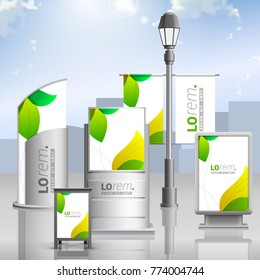 Floral outdoor advertising design for corporate identity with green leaves. Stationery set