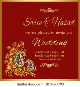 Floral paisley background with indian ormament and place for your text.Indian wedding invitation card with abstract background.