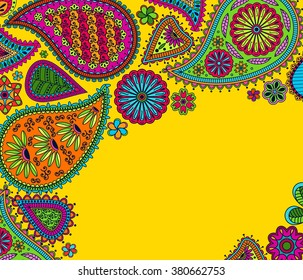 Floral paisley background with indian ormament and place for your text. Romantic design in bright colors. Greeting card. Vector illustration.