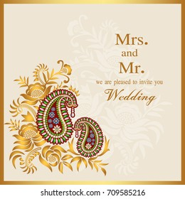 Floral paisley background with indian ornament and place for your text. Invitation and Wedding cards Template frame. Perfect cards for any other kind of design, birthday and other holiday.