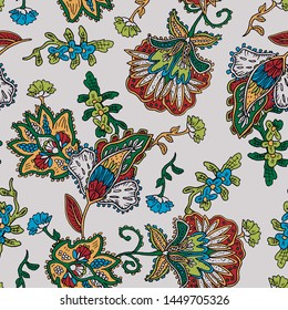 Floral paisley pattern trendy colour watercolour background seamless isolated on a black background - Vector.
