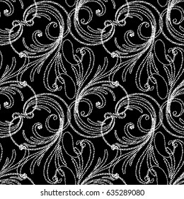 Floral paisley seamless pattern. Black background with white swirl paisley flowers, leaves and vintage line art  ornaments. Vector isolated paisley texture for fabric, prints, textile, wallpapers