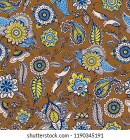 Floral paisley seamless pattern with traditional Persian buta motif and mehndi elements on brown background. Stylized vector illustration for textile print, wallpaper, wrapping paper, backdrop.