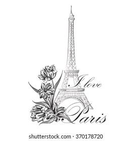 Floral Paris Illustration Famous Paris landmark Eiffel Tower. Travel France Graphic Design