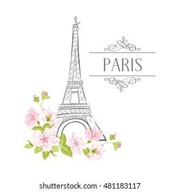 Фотообои Floral Paris Illustration Famous Paris landmark Eiffel Tower