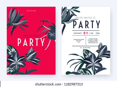 Floral party invitation card template design, Magnolia champaca, spider lily, Amaryllis and leaves in blue tones on red