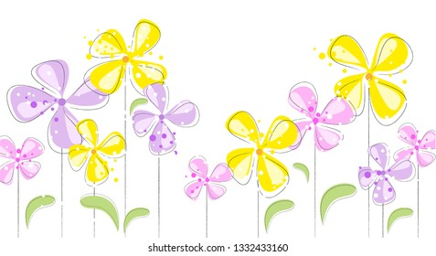 Floral pastel banner with white background