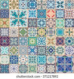 Floral patchwork tile design. Colorful Moroccan Mediterranean square tiles, mosaic ornaments. tile mosaic background, surface textures. Indigo blue white teal fabric. Seamless tile mosaic. Tile vector