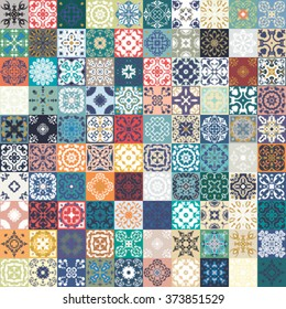 Floral patchwork tile design. Colorful Moroccan Mediterranean square tiles, mosaic ornaments. tile mosaic background, surface textures. Indigo blue white teal fabric. Seamless tile mosaic, vector.