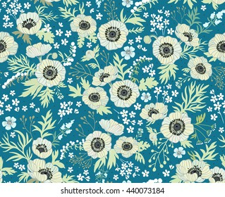 Floral pattern with anemones. Beautiful white flowers. Blue background. Ditsy floral background. The elegant the template for fashion prints. Pastel colors.